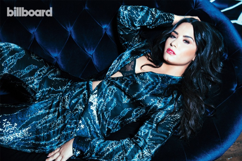 Singer Demi Lovato wears Baja East suit and Wixson Paris bra