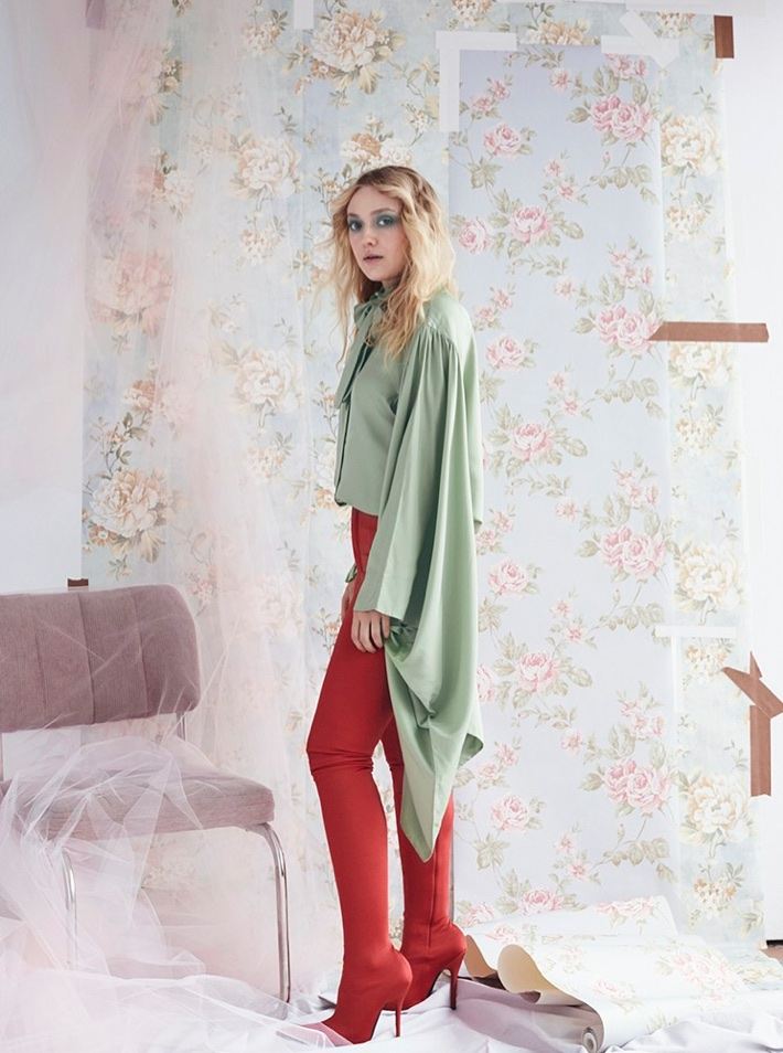 Actress Dakota Fanning wears Balenciaga top and pants