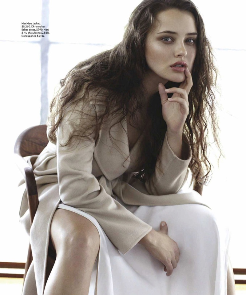 Actress Katherine Langford wears Max Mara jacket and Christopher Esber dress