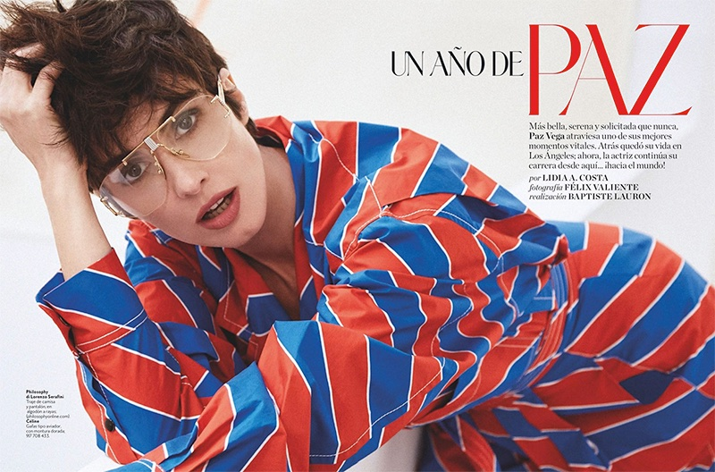 Actress Paz Vega wears Philosophy de Lorenzo Serafini shirt and Celine glasses