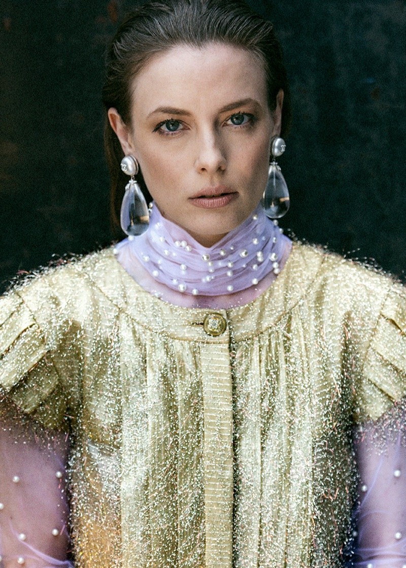 Photographed by Brian Higbee, Gillian Jacobs wears Chanel dress and earrings