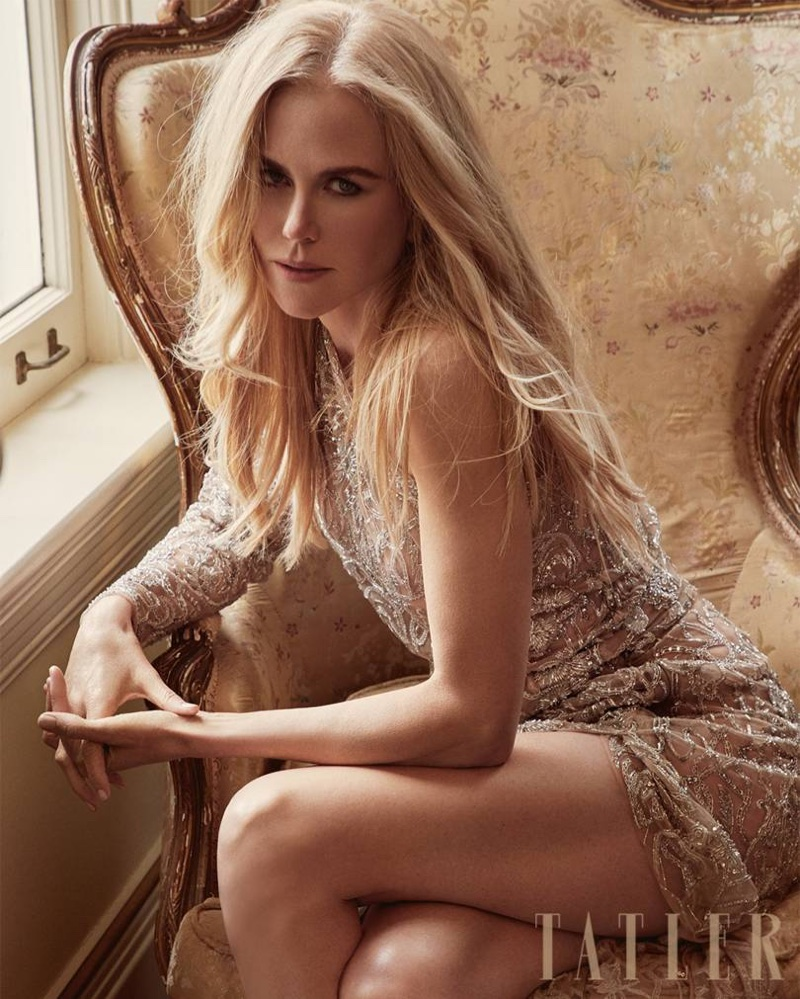 Shining in crystals, Nicole Kidman wears Dundas Atelier minidress