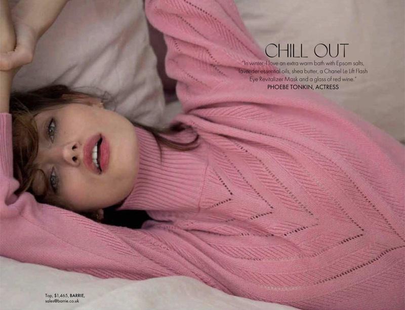 Looking pretty in pink, Phoebe Tonkin wears Barrie knit top