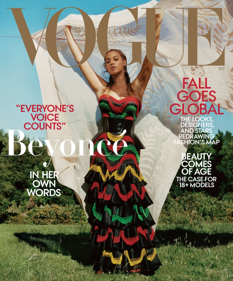 Singer Beyonce wears Alexander McQueen dress and corset on Vogue US September 2018 Cover