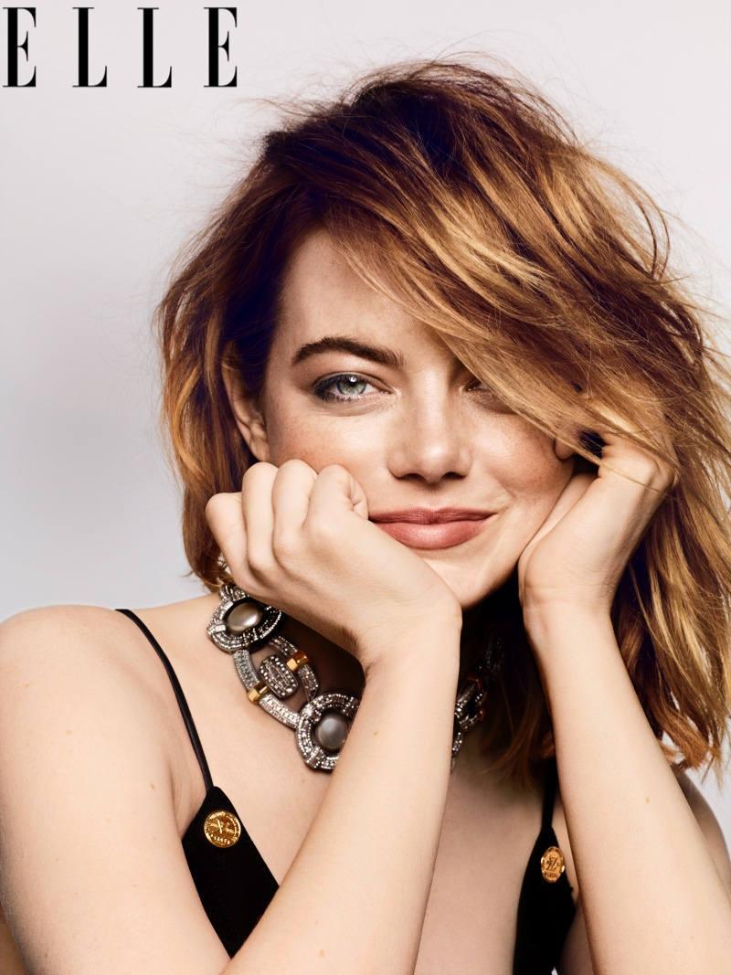 Actress Emma Stone flashes a smile for ELLE