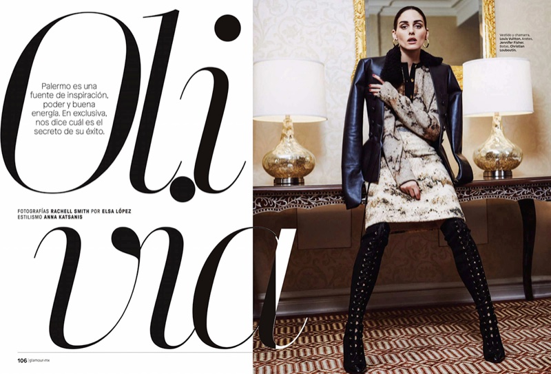 Style star Olivia Palermo wears Louis Vuitton dress and jacket with Christian Louboutin boots