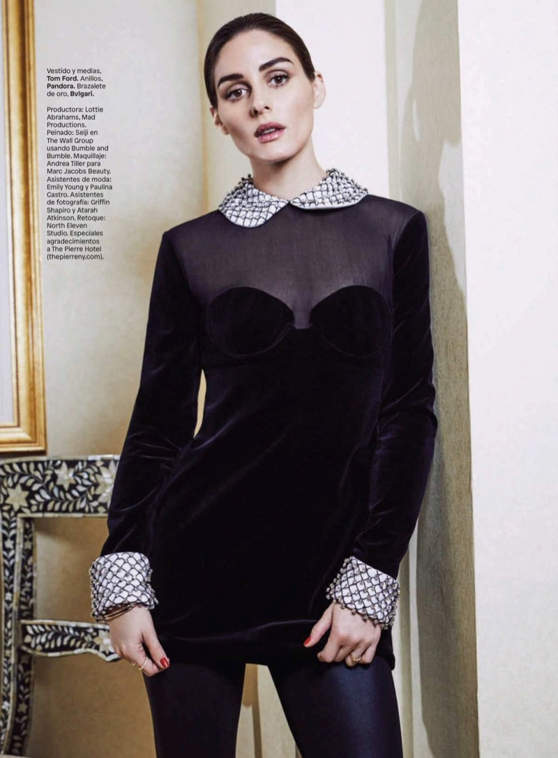 Striking a pose, Olivia Palermo models Tom Ford dress and stockings