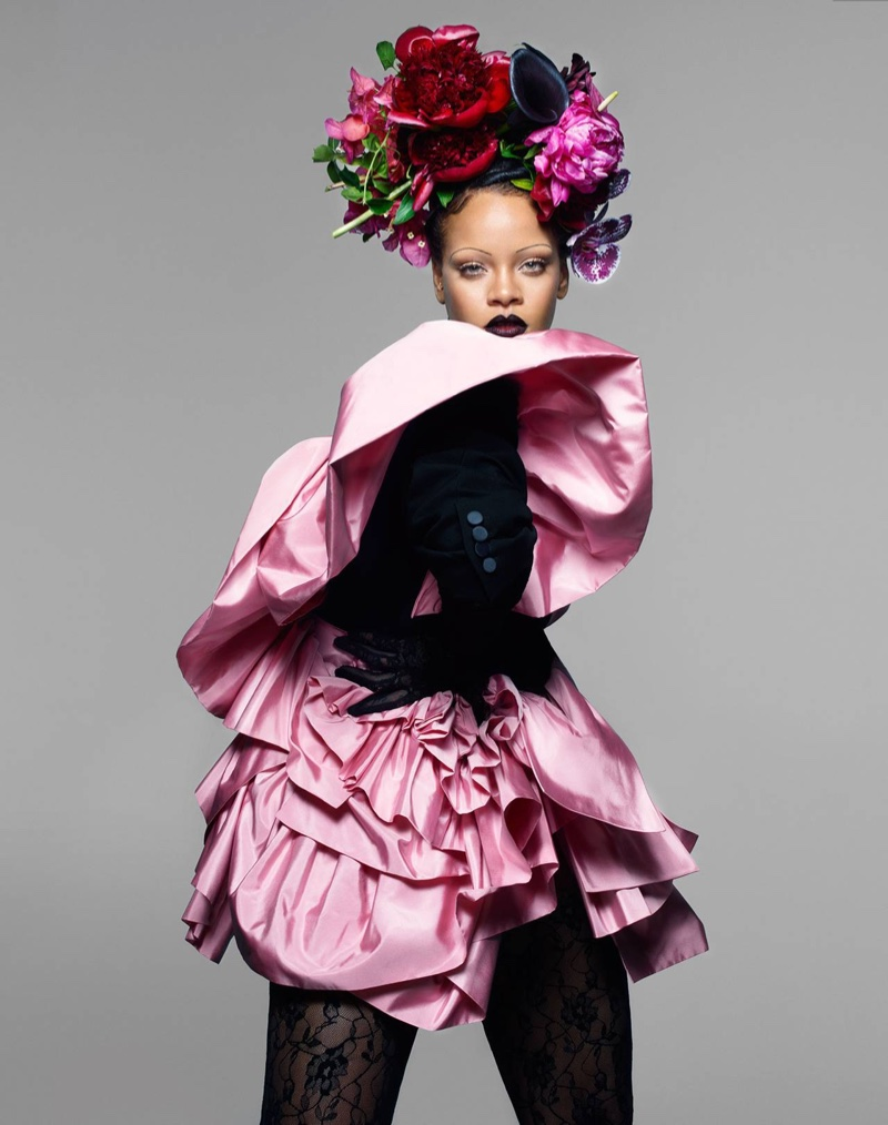 Dressed in pink, Rihanna wears Alexander McQueen tuxedo jacket with Cornelia James lace gloves