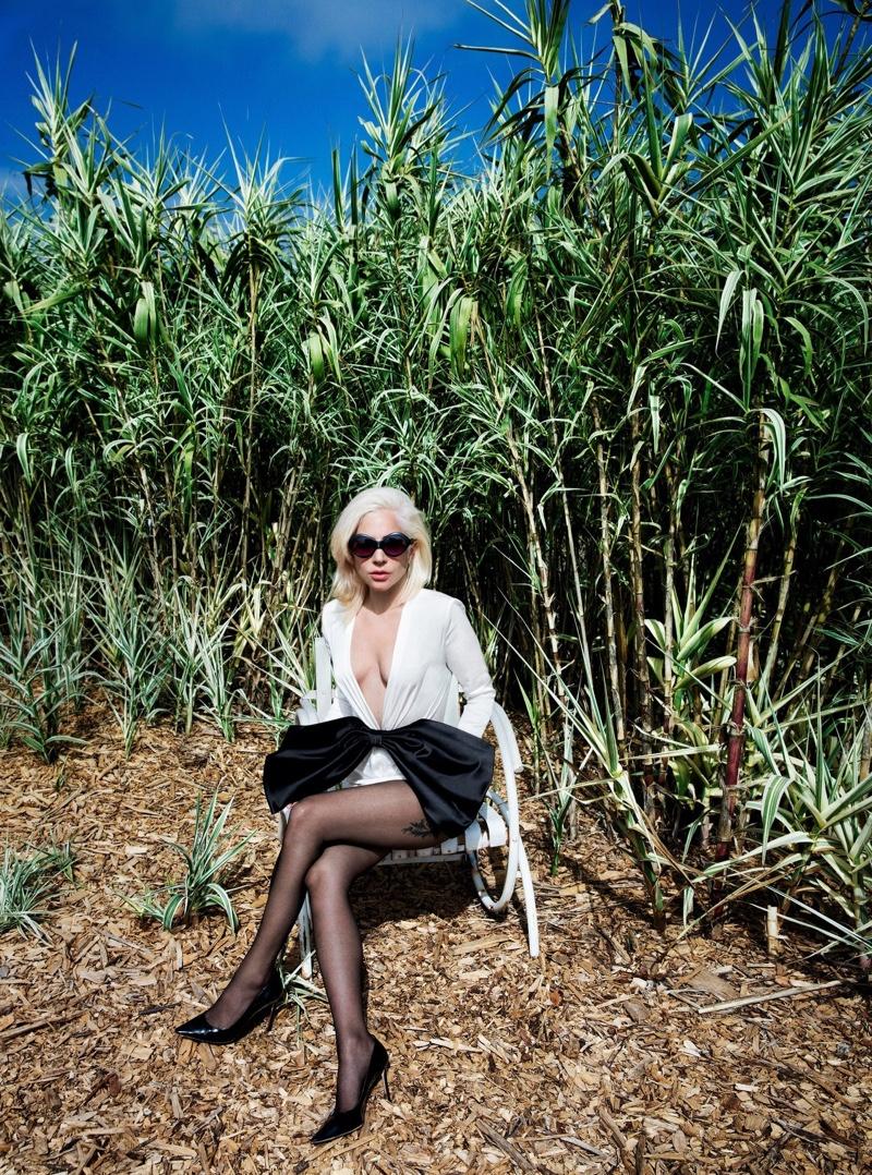 Lady Gaga wears Givenchy top, Falke tights and Jimmy Choo heels