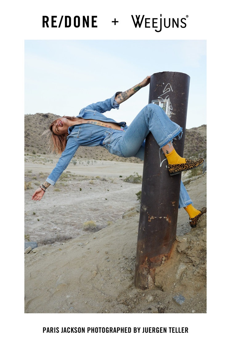 An image from the RE/DONE x Weejuns campaign starring Paris Jackson
