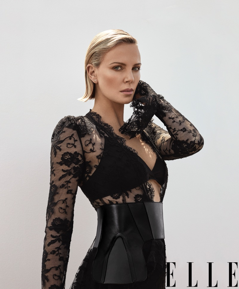 Clad in black lace, Charlize Theron wears lingerie look