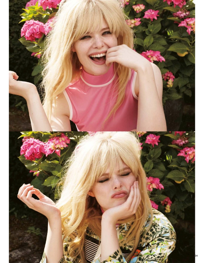 Actress Elle Fanning shows off a chic hairstyle with bangs