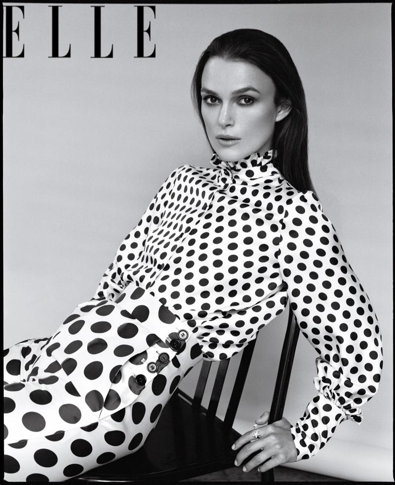 Actress Keira Knightley poses in polka dot prints