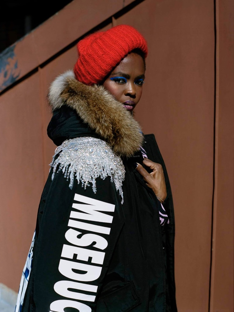 Lauryn Hill poses in Washington Heights, New York, for Woolrich fall-winter 2018 campaign