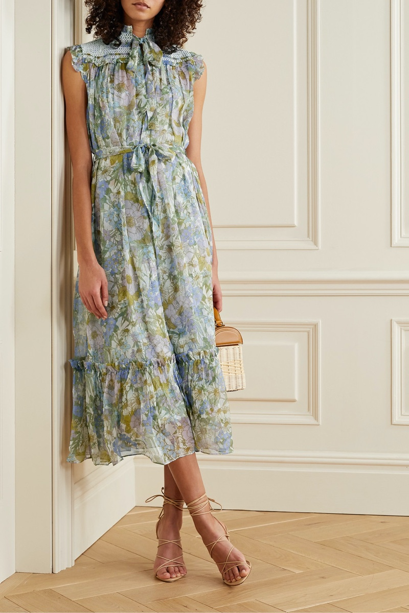 Zimmermann Super Eight Floral Print Silk-Chiffon Midi Dress $525 (previously $750)