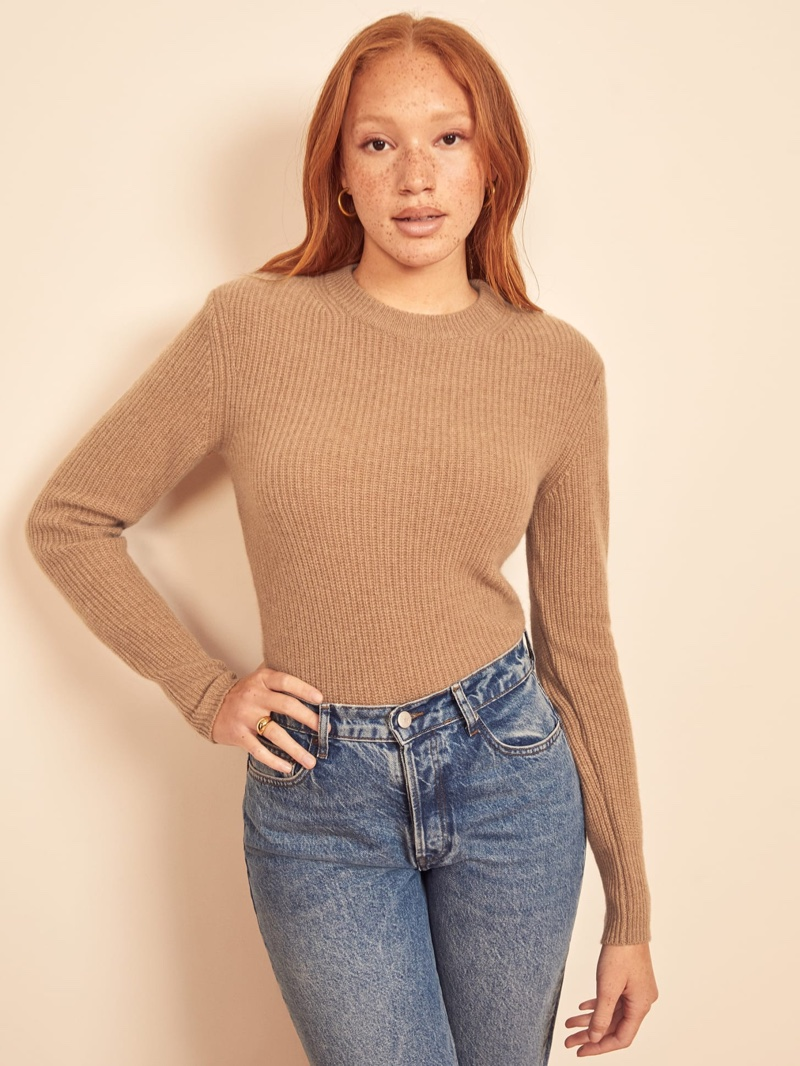 Reformation Cesina Cashmere Sweater in Camel $159.60 (previously $228)