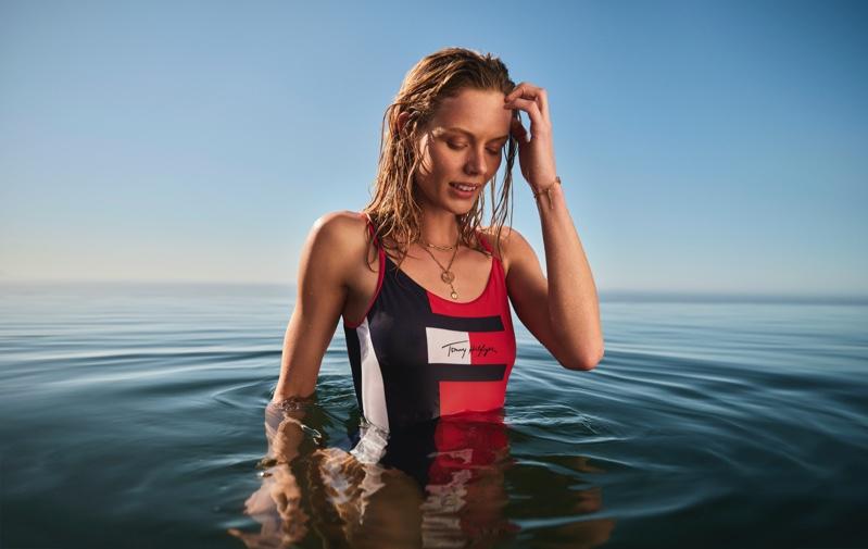 Marlijn Hoek stars in Tommy Hilfiger swimwear summer 2020 campaign.