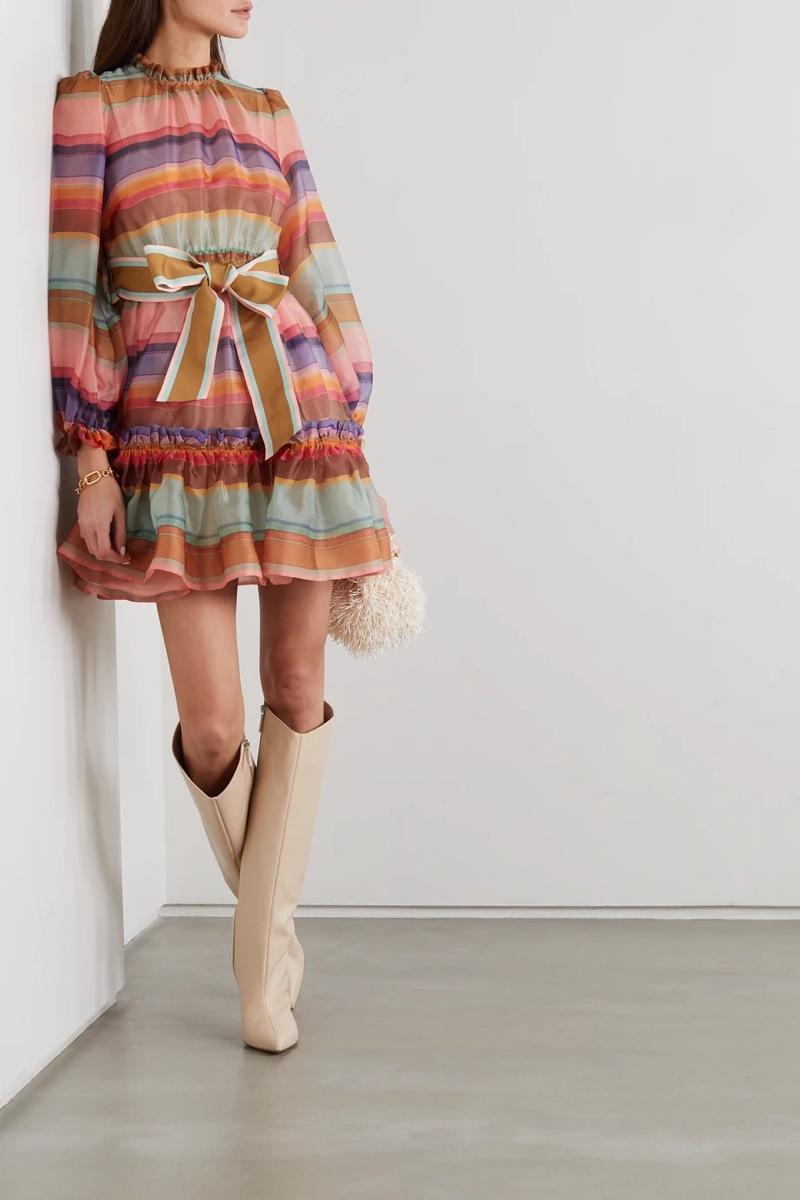Zimmermann Lovestruck Belted Striped Silk-Organza Mini Dress $1,120 (previously $1,600)
