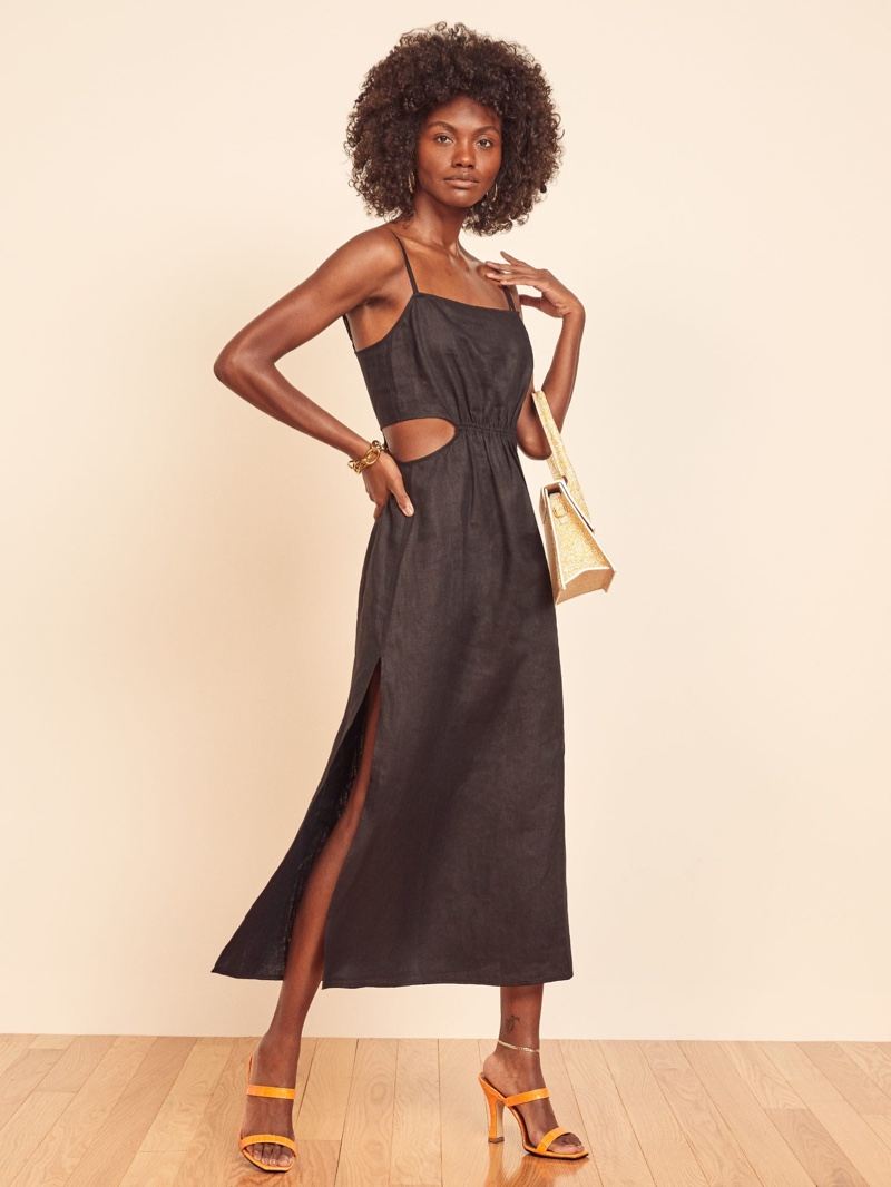 Reformation Waterlily Dress in Black $178