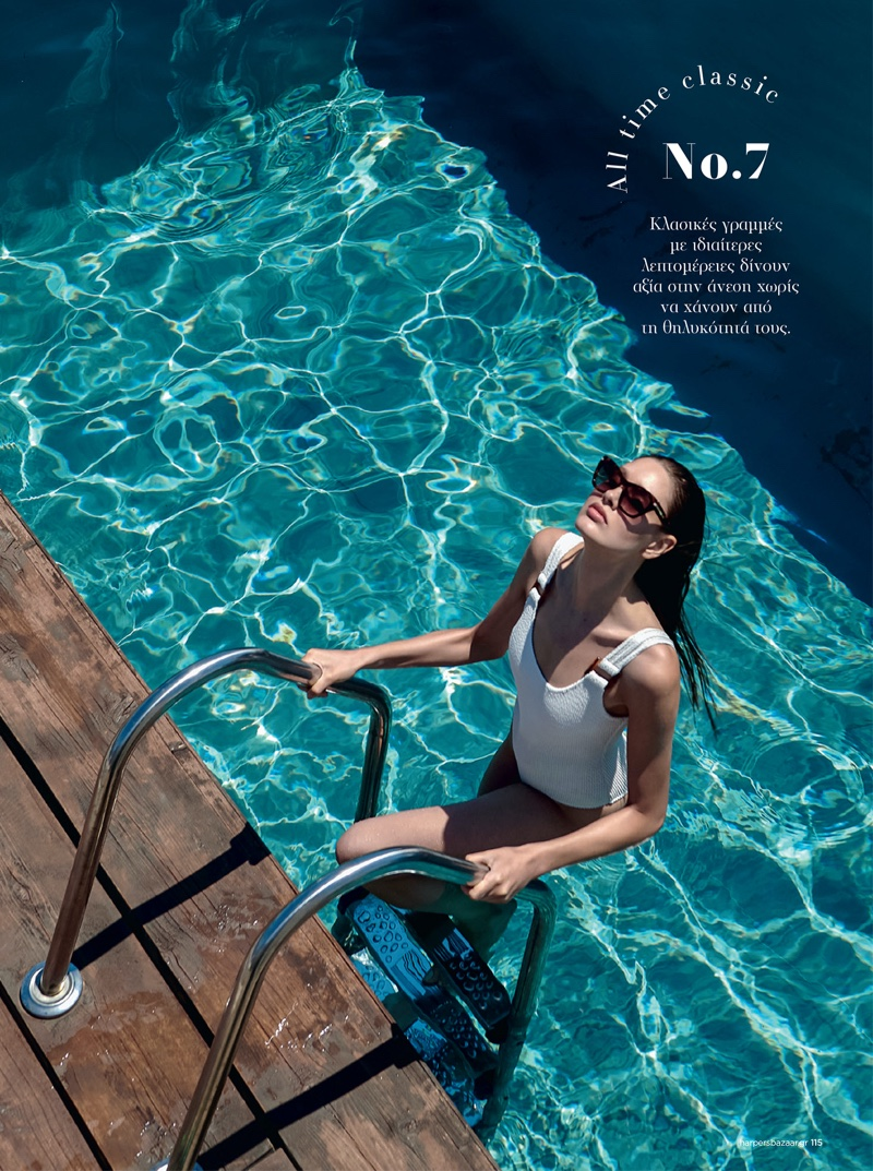 Militsa Borisova Dips Into Summer Swim for Harper's Bazaar Greece