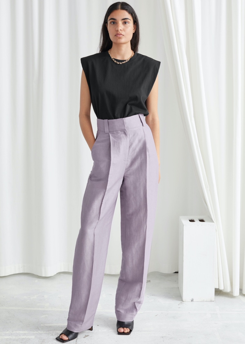 & Other Stories Wide Tailored Linen Blend Trousers $129