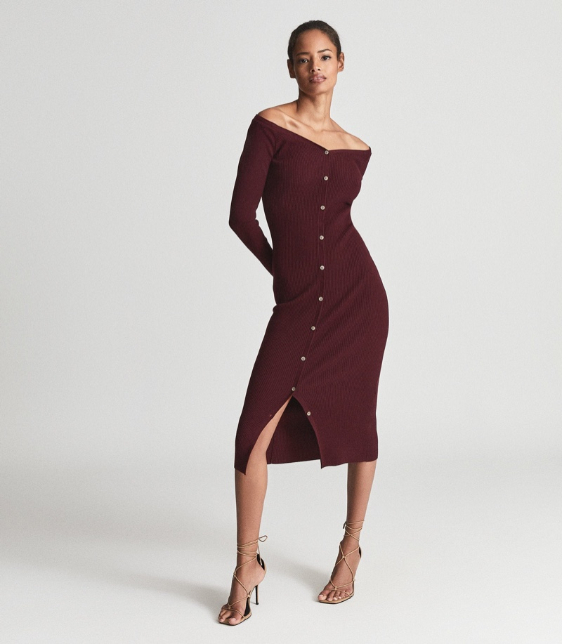 Reiss Camille Knitted Button Through Midi Dress in Burgundy $325