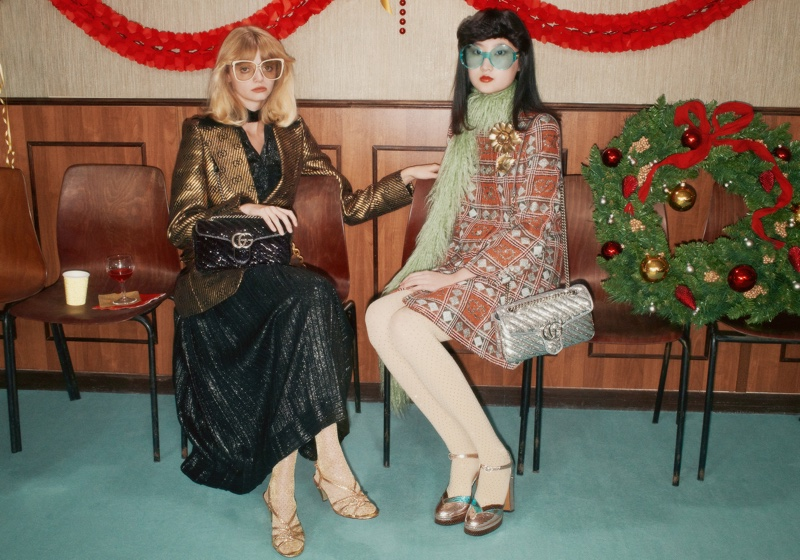 Models wear festive style in Gucci Holiday 2020 campaign.