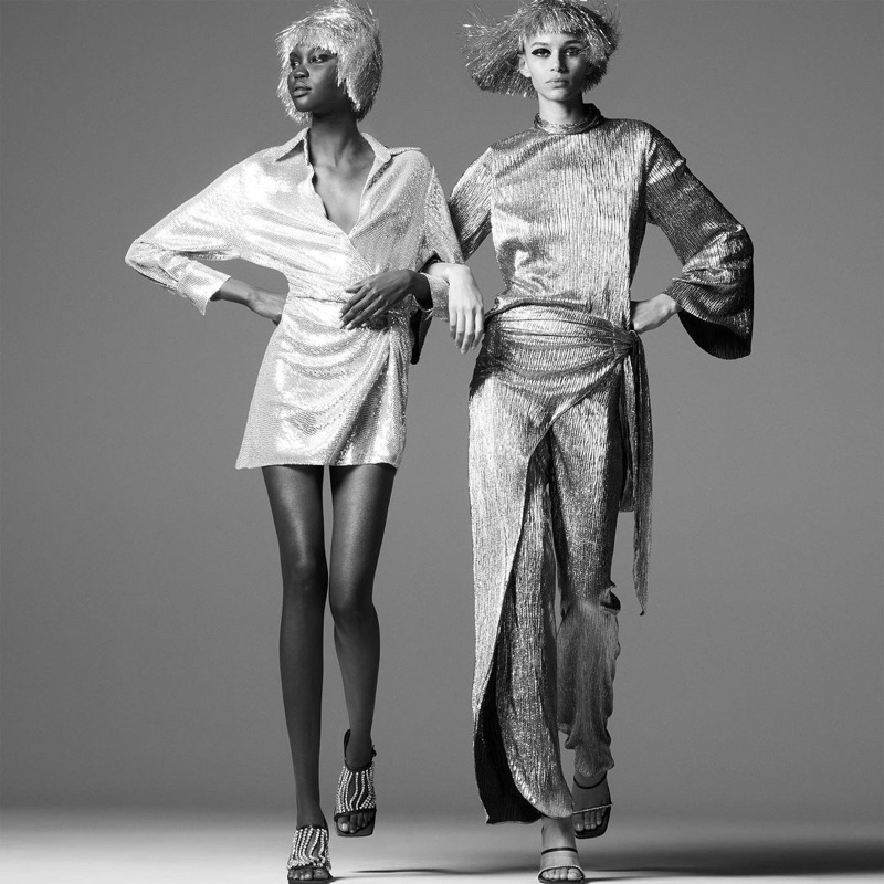 Achenrin Madit and Binx Walton wear Zara sparkly knotted dress, Limited Edition sparkly top, sparkly wrap front pants.