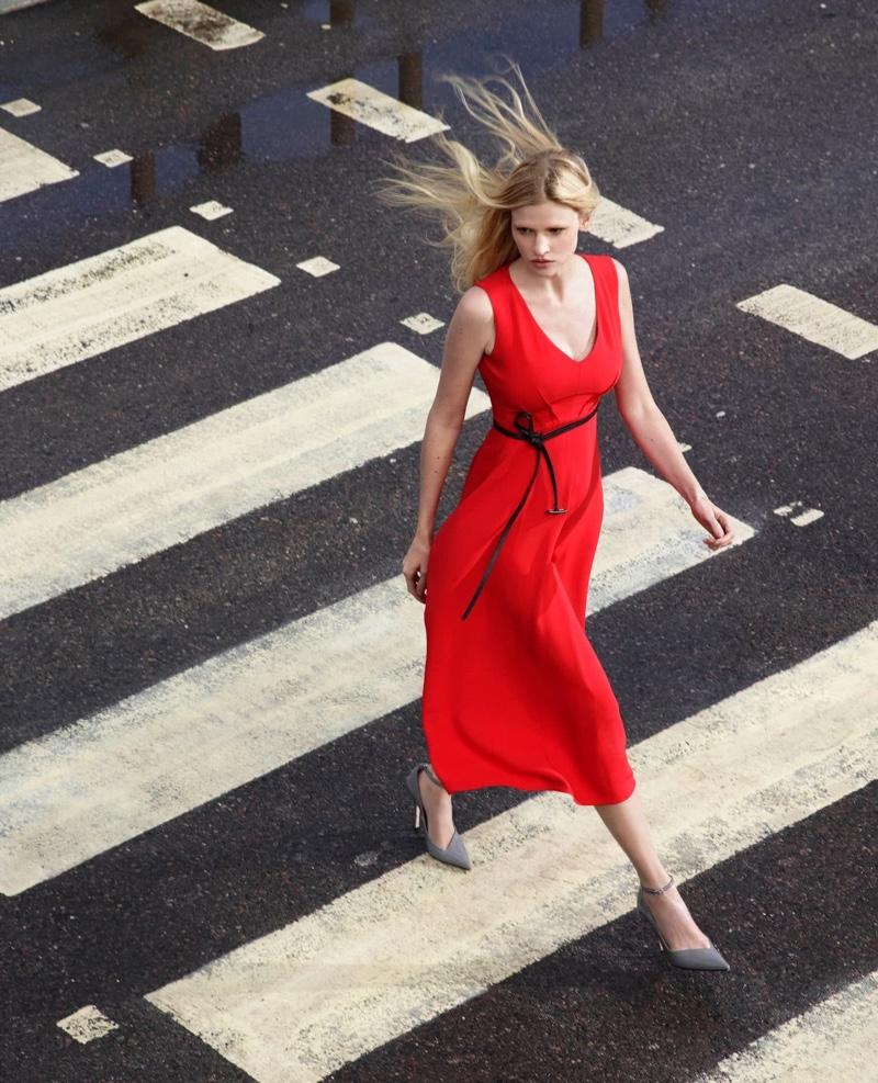 Dressed in red, Lara Stone fronts Alessandro Dell'Acqua X Elena Mirò campaign.