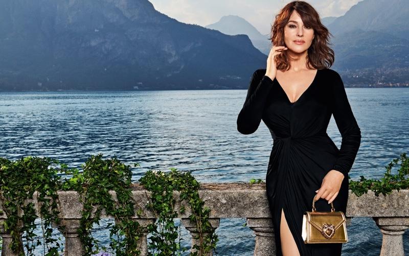 Photographed on Lake Como, Monica Bellucci fronts Dolce & Gabbana Devotion handbag campaign.