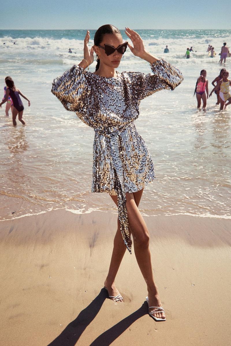 Binx Walton wears Zara sequin mini dress.