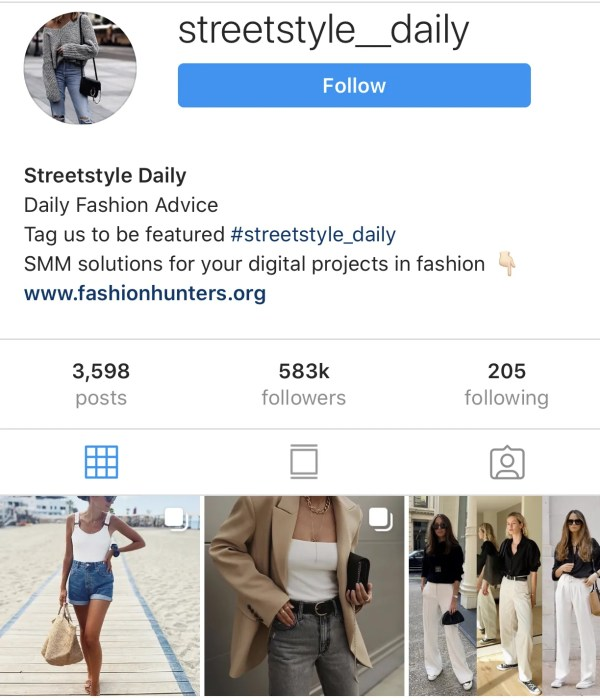 Instagram account @streetstyle__daily