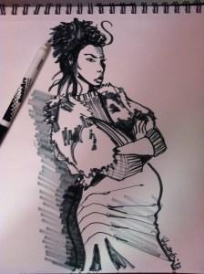 Laura Volpintesta maternity fashion illustration look by Alexandre Herchcovitch for FFW