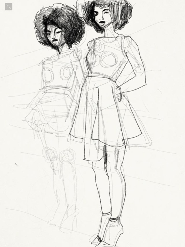 Laura Volpintesta, Sketch of dresses by Natacha Baco.