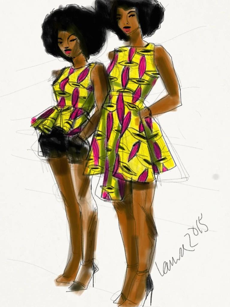 Digital iPad Fashion Illustration by laura Volpintesta of Fashion Illustration Tribe. African Wax Print dresses by Natacha Baco, Paris.