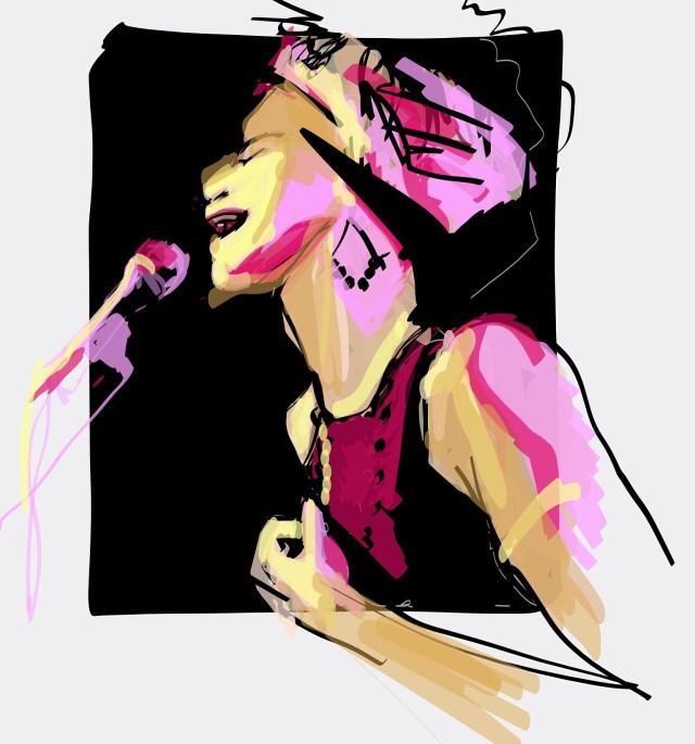 Laura Volpintesta Fashion Illustrator. Agathe Iracema, brazilian jazz vocalist in Paris