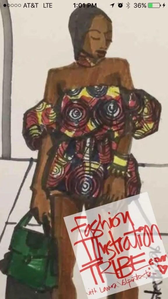 Fashion Illustration by Laura Volpintesta, African Print Fashion, model is singer Mo Cheddah
