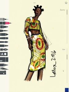 Tayasui Sketches App Fashion Illustration by Laura Volpintesta, fashion illustrator