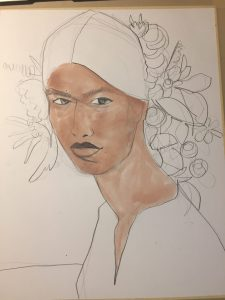Watercolor Portrait for fashion by Laura Volpintesta