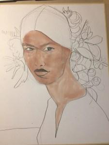 Watercolor Portrait for fashion by Laura Volpintesta