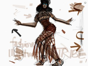 Tayasui Sketches App Fashion Illustration of Naomi Campbell on Vogue Brasil by Laura Volpintesta, fashion illustrator