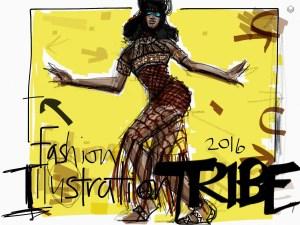 Tayasui Sketches App Fashion Illustration of Naomi Campbell by Laura Volpintesta, fashion illustrator
