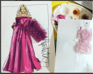 eveningwear illustration with Laura volpintesta
