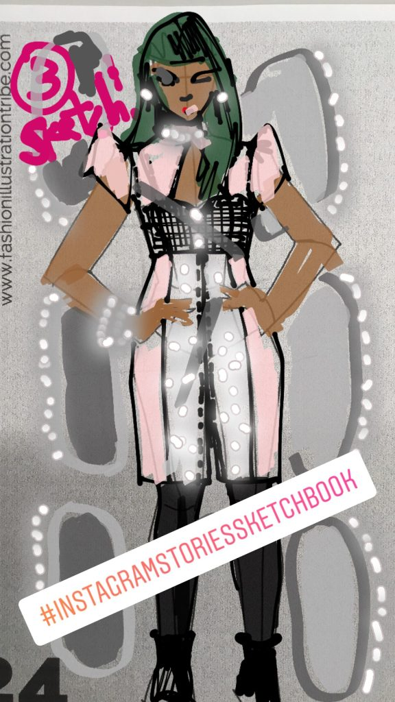Eveningwear Fashion Illustration in Instagram Stories