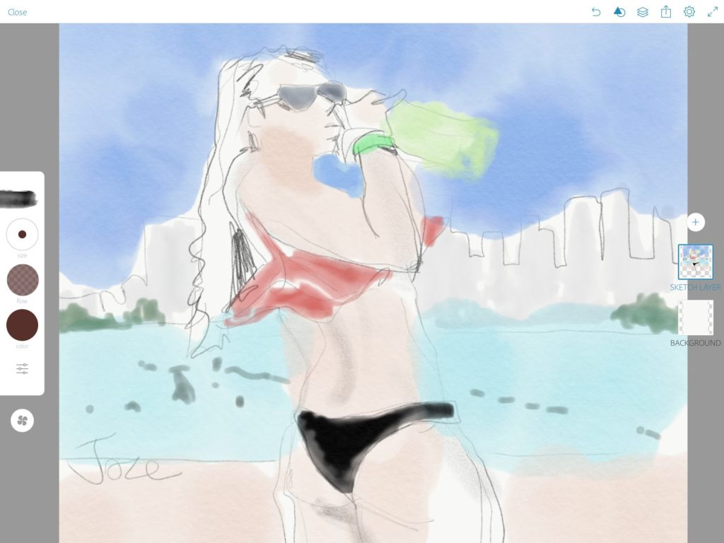 Adobe Sketch app fashion illustration