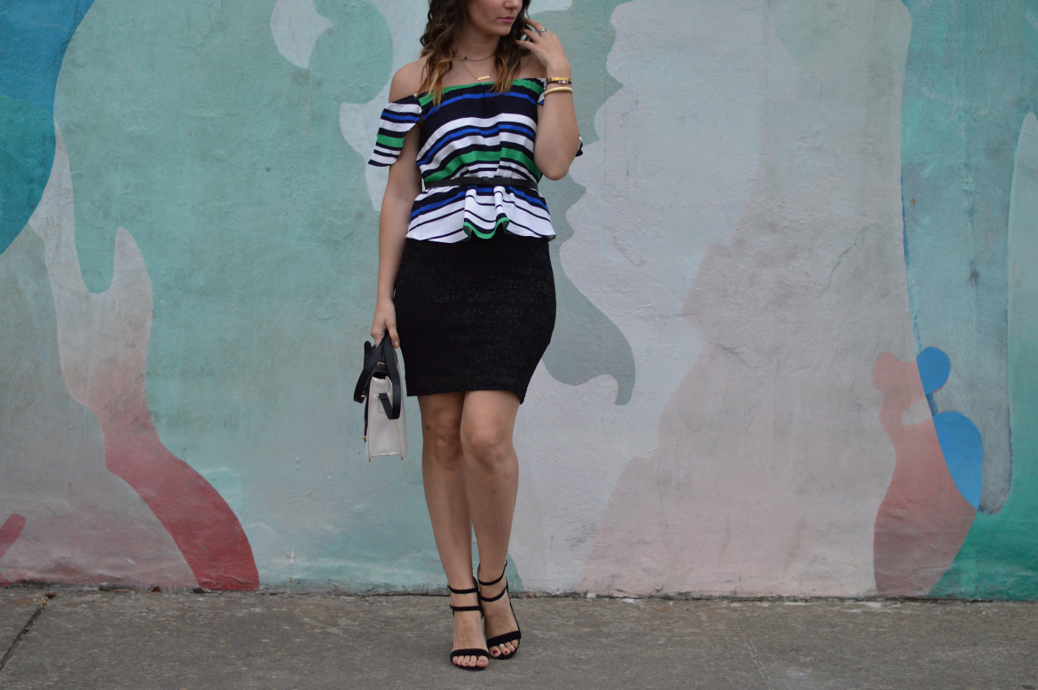 SELF-CONFIDENCE HACKS: COPING WITH SELF DOUBT by Fashion in Flight shein off the shoulder ots top forever 21 lace stretch pencil skirt black strappy sandals forever 21 black white gold colorblock crossbody gold bracelets ashleigh jean lopes fashion blog blogger style blog lompoc mural photo