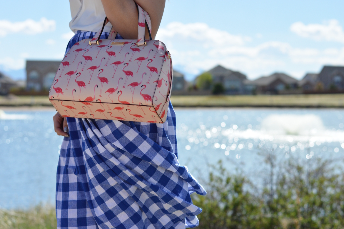 WHY YOU SHOULD CHANGE YOUR HANDBAG OFTEN by Fashion in Flight shein white lace plunge cami camisole shein blue and white gingham pleated midi skirt summer spring style kate spade pink flamingo handbag cape robin olive green lace up ankle wrap sandals ashleigh jean lopes colorado denver colorado springs blogger fashion beauty lifestyle blog ashleigh jean lopes