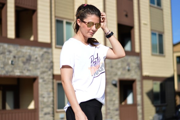 CURRENT FITNESS ROUTINE & TIPS FOR WORKING AROUND SCHEDULES by Fashion in Flight nike t shirt pretty tough grey oraange black nike mesh leggings orange pink under armour sneakers colorado springs ashleigh ejan lopes fashion beauty lifestyle blogger denver colorado blog