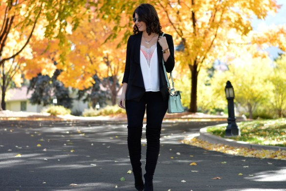 FORMULAIC FASHION: FALL 2017, PART II by Fashion in Flight black umgee waterfall blazer white lace plunge sheik camisole orange pacsun bralette black aerie leggings black suede catherine malandrino otk over the knee boots sage green seafoam green kate spade saturday cross body bag green enamel bcbg rose gold necklace love bracelets brunette curly short hair the broadmoor colorado springs colorado denver fashion blogger fashion beauty lifestyle blogger style ootd outfit of the day lookbook ashleigh jean lopes fall fashion autumn lookbook formula Fall 2017 Formula #2
