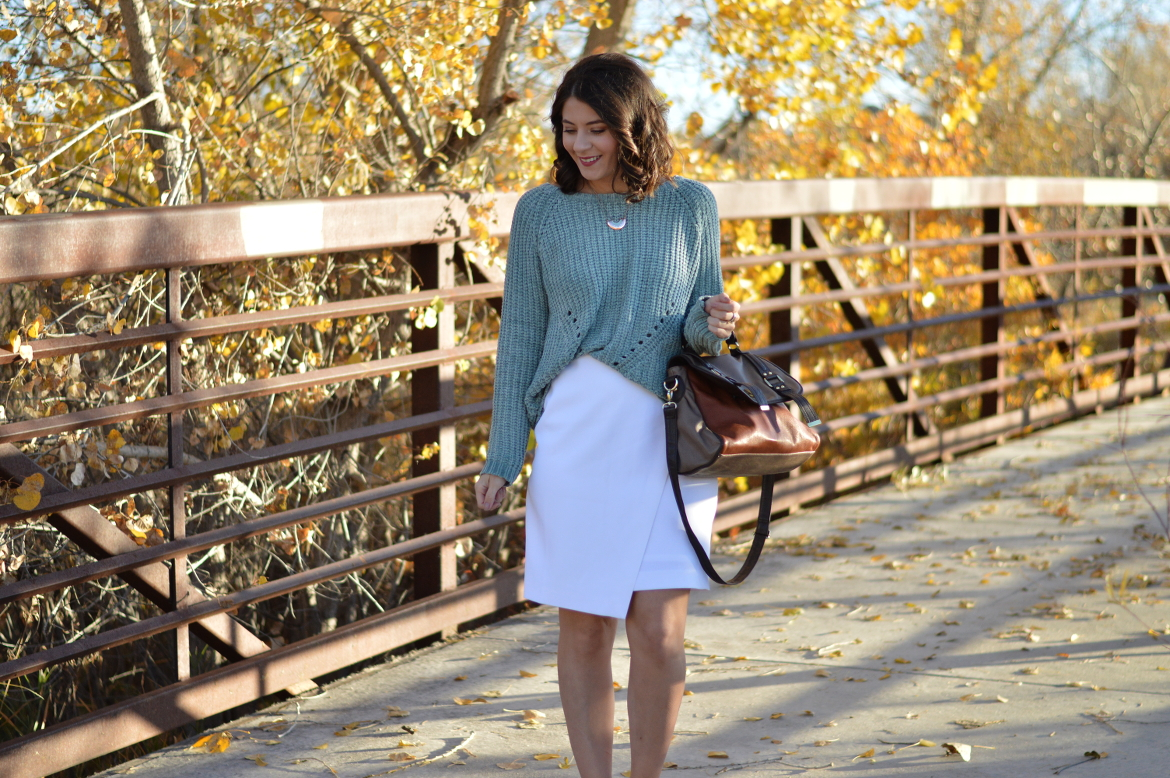FORMULAIC FASHION: FALL 2017, PART III by Fashion in Flight Fall 2017 Formula #3 sage green sea foam green sweater via tjmaxx tj maxx white house black market white wrapped pencil skirt whbm steve madden color block brown and orange satchel nordstrom rack sandals rose gold and green enamel bcbgeneration necklace colorado springs colorado denver style blogger fashion beauty lifestyle blog by ashleigh jean lopes short hair brunette curly hair outfit of the day ootd fall look autumn lookbook bridge leaves setting luccagraphy